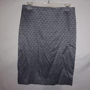Black Silver Pattern Stretch Pencil Skirt 2